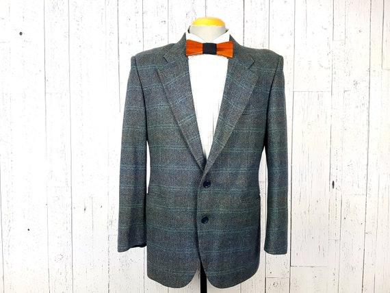 90s Blazer Mens Gray Tweed Blazer Tweed Sport Coat Gray Wool Blazer Vintage Dark Gray Tweed Sport Coat Mens Size 40 Colorful Pinstripes