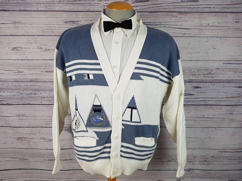 dbf11a809b Vintage Cardigan Men s XL Porto Cruz Grandad Grandpa Sailing Boat Ship  Skipper Captain Sea Sweater Shirt Made in Canada Button up Cotton