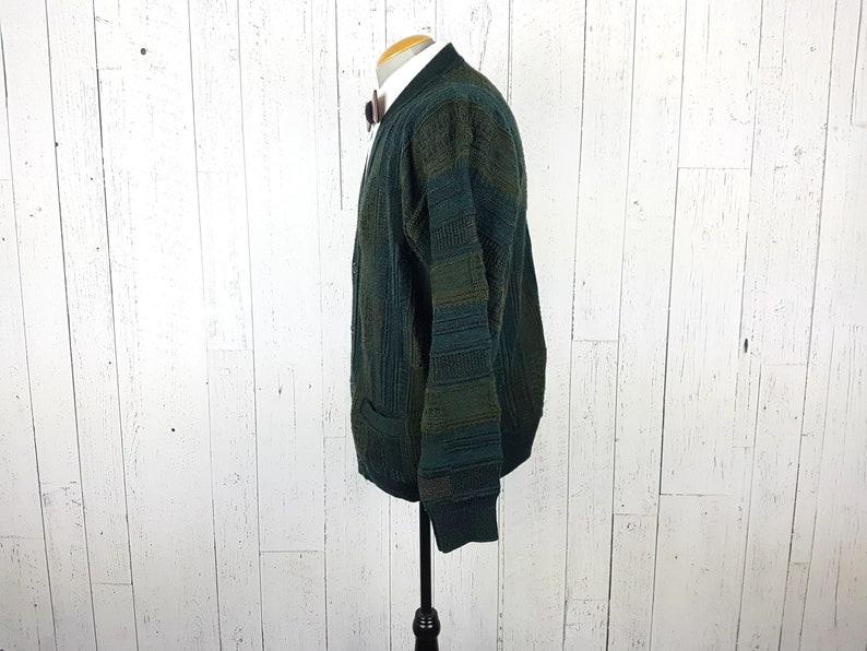Vintage 80s Cardigan Sweater Men/'s Large Green Brown Stripes Preppy Front Pockets Button Up Grandpa Boyfriend Shirt Unisex Cozy Winter Wear