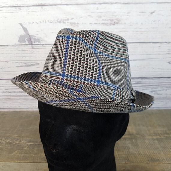Vintage Small Glen Plaid Blue   Black Fedora Hat   Men s  d09a144d699