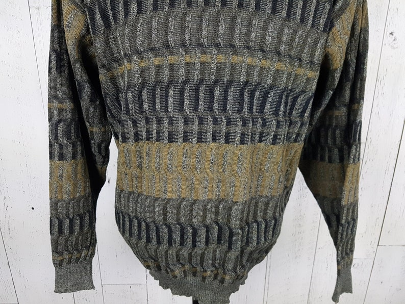 Vintage 90s 100/% Wool Sweater Men/'s Extra Large XL Abstract Geometric Olive Pullover Grandpa Boyfriend Winter Shirt Unisex Statement Top