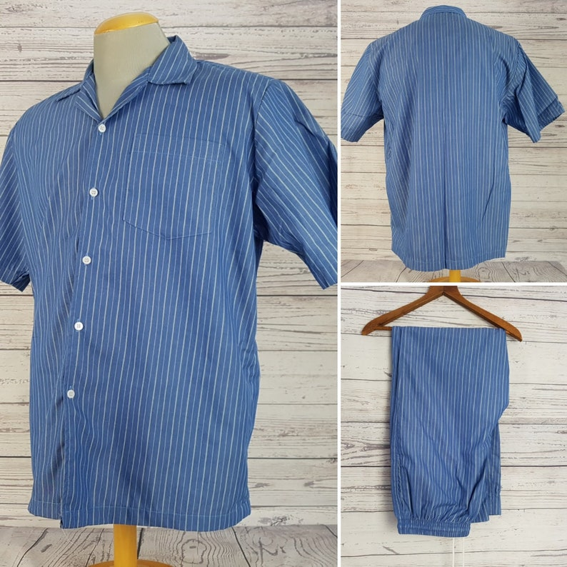 Vintage 90s Fumei Fashion Men/'s Pajama Set Top /& Pants Lightweight Blue with Stripes Cotton Blend PJ Nighttime Sleepwear Pj/'s Canada