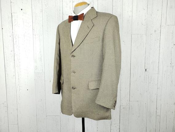 Vintage 90s Nailshead Silk Wool Blend Blazer Men/'s 44R Taupe /& Black Sports Coat 44 Regular Oscar de la Renta Jacket Wool Retro Menswear