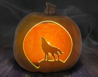 Howling Wolf Pumpkin Carving Stencil Printable