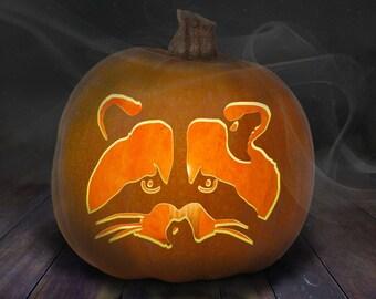 Raccoon Pumpkin Carving Stencil Printable
