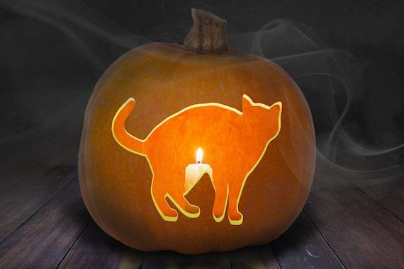 Cat Pumpkin Carving Stencil Printable Etsy