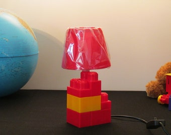 Lego lamp shade etsy lego red and yellow shade lamp red day aloadofball Choice Image