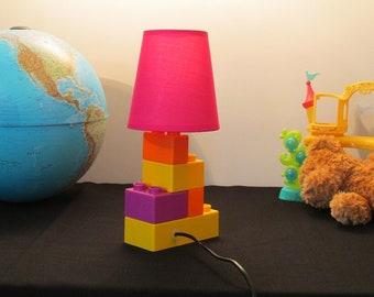 lamp construction brick shade pink present day set child