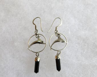Vintage Dangling Jumping Dolphin Sterling Silver Woman's Earrings with Black Stone  #27