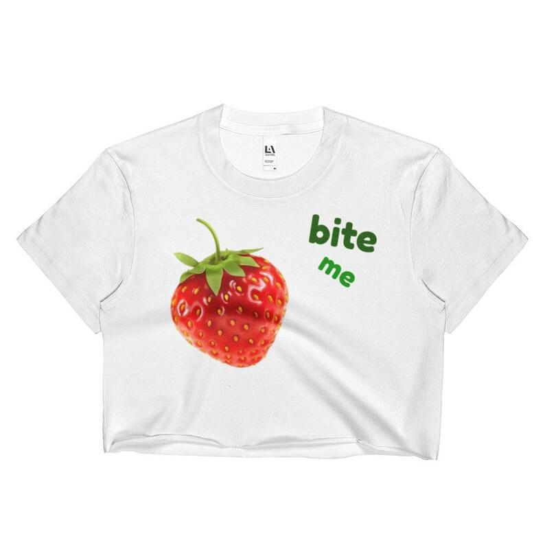 Ladies Crop Top Bite me Strawberry