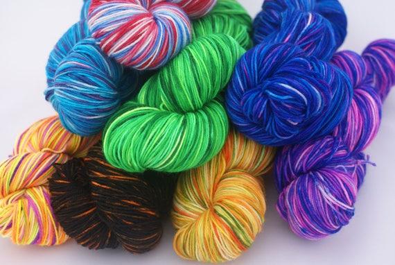 Handpainted Sport Weight Merino Wool Yarn blue lavender green Grape Vines
