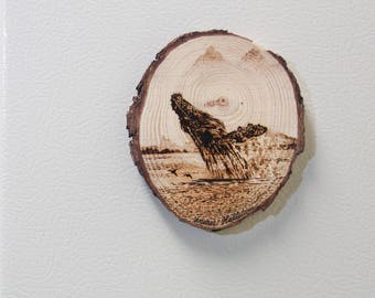 Fridge Magnet Wood Humpback Whale Pyrography