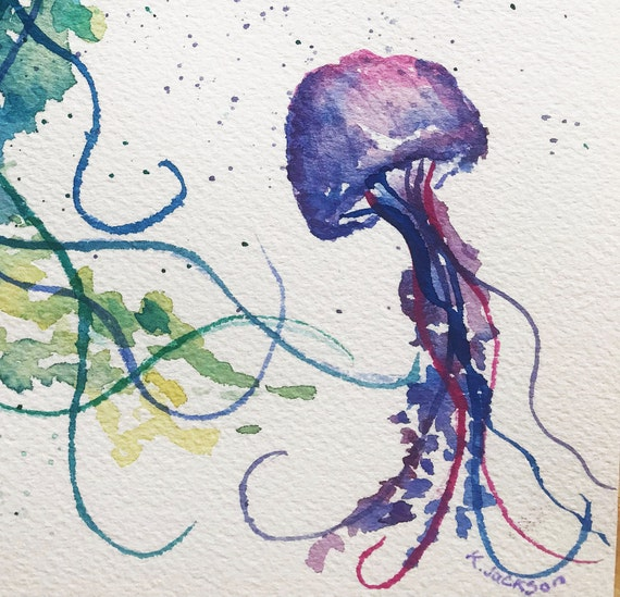 Large Original Watercolor Painting of a Jellyfish Large 18 x 24 inches
