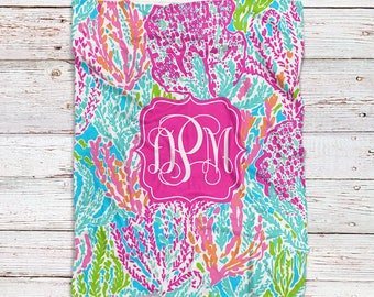 Monogrammed Lilly Inspired Blanket - Let's Cha Cha