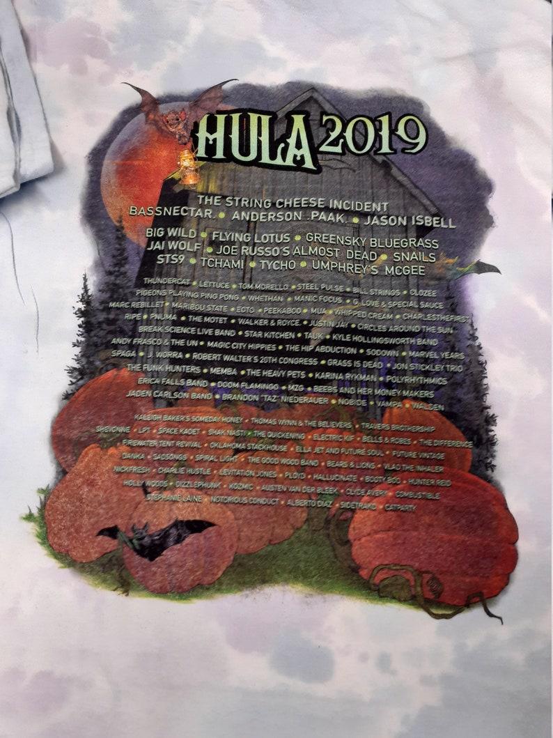 HULAWEEN Suwannee Music Fest 2019 Light Pastel tye dye shirts SMALL Direct to Garment