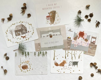 owl Woodland themed postcard pack vintage mushroom moth illustrations squirrel autumn and winter greeting cards acorn homemade