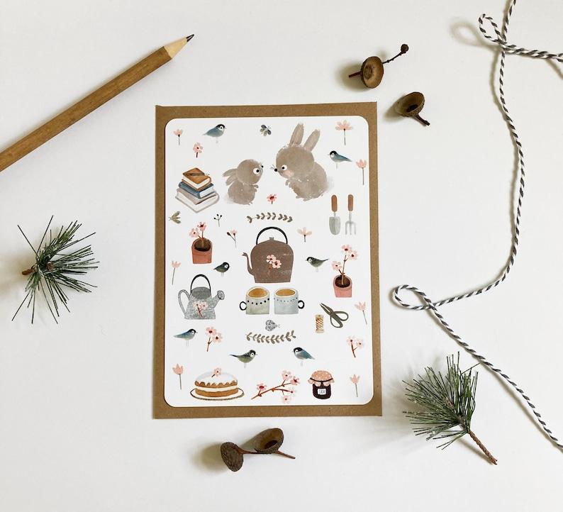 Woodland Animals Mini Print Favourite Things Card Cute Postcard Tea-time Postcard Woodland Cards Bunny Postcard Rabbit Postcard