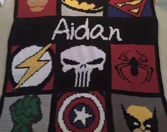 SUPER HERO BLANKET  Personalized  9 super heroes plus name  Amazing Gift!