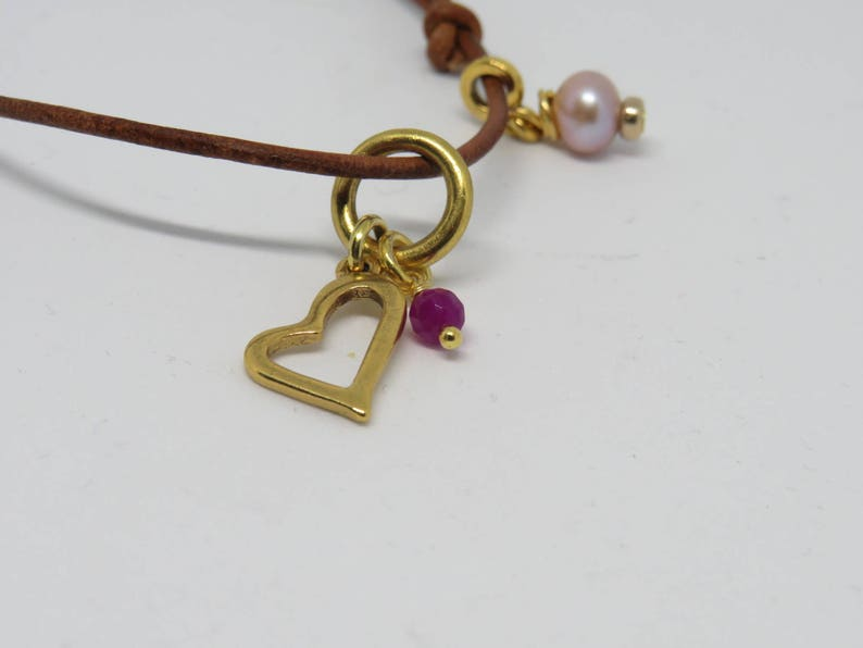 Open Heart Charm Necklace Blush Pink Freshwater Cultured Pearl Gemstone Charm Gift for Her Pink Jade Gold Charm Valentine/'s Present