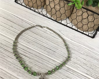 """Green Swarvoski Crystal and Silver Necklace 15"""""""