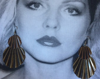 Vintage large copper and bronze statement earrings. NOS. Runway earrings.