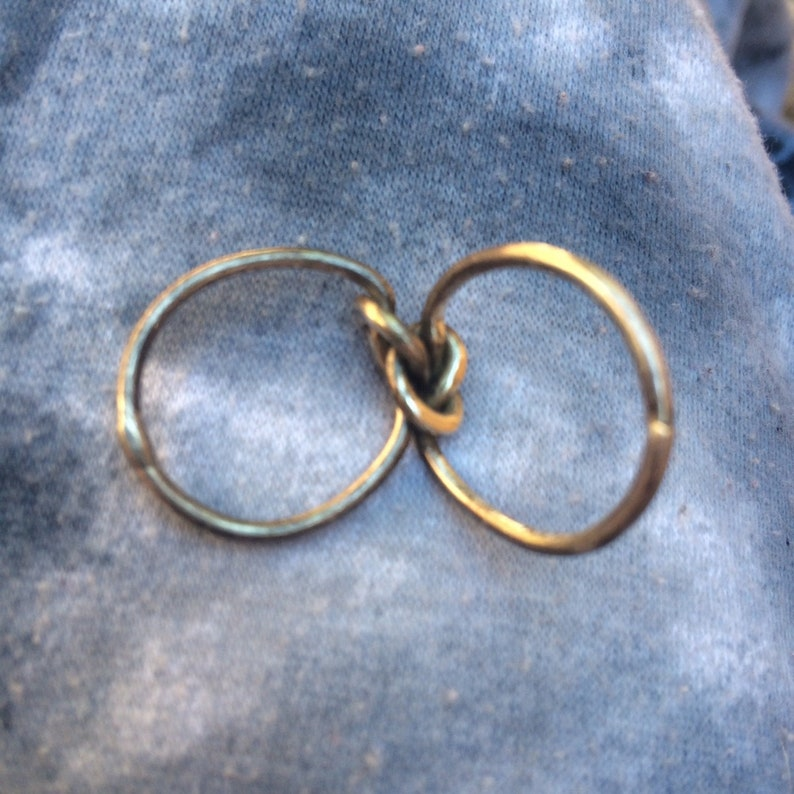 Vintage handmade sterling silver double lovers knot ring size 4 12 US. Reduced