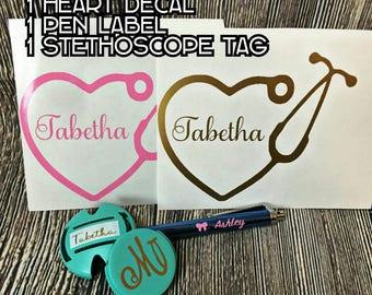 Nurse's decal set/ Stethoscope tag/ tablet pen decal/ Heart stethoscope decal