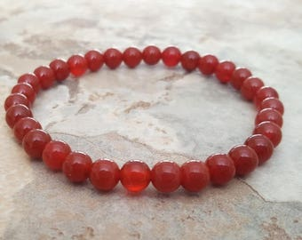 308c84b136a0 Natural RED CARNELIAN dainty stretchy healing bracelet 6 mm stacking beaded  bracelet