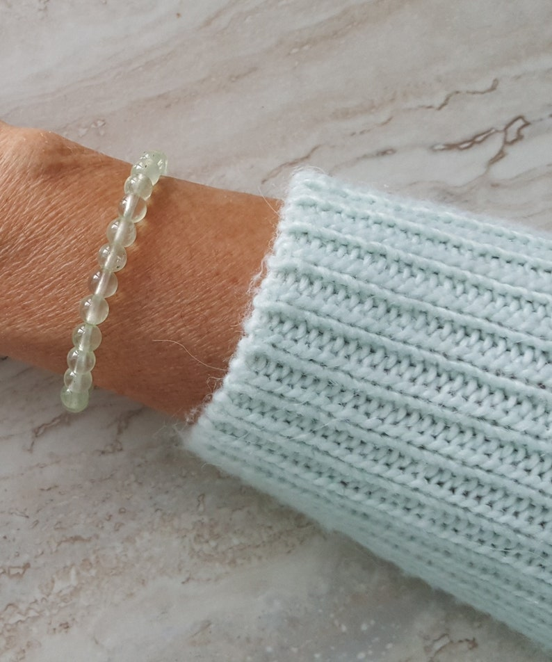 Spiritual Knowing Natural PREHNITE   bracelet 6 mm stacking beaded bracelet intention bracelet