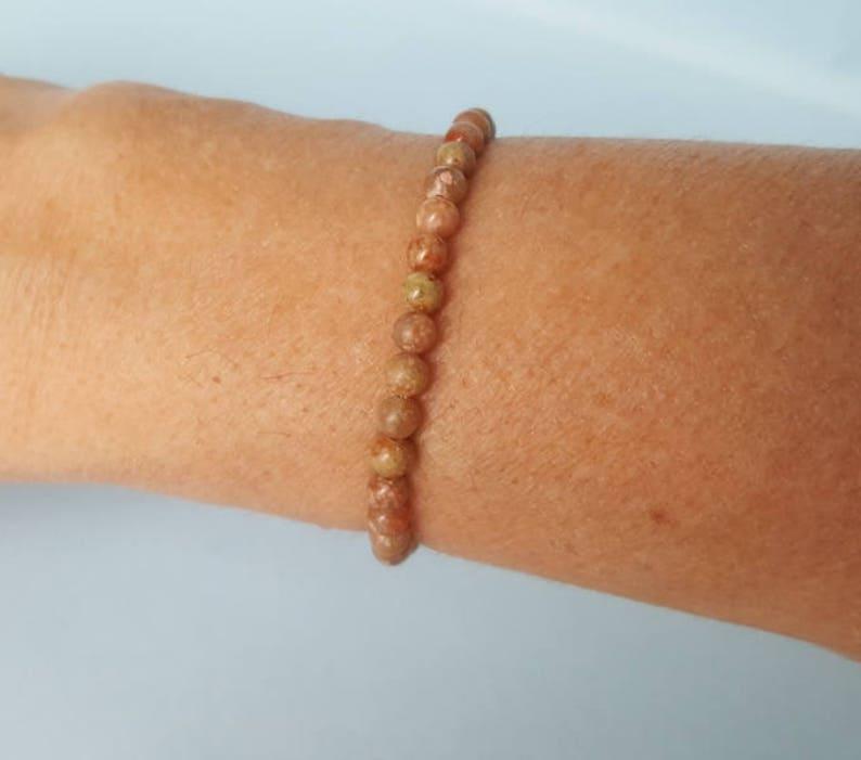 Natural PINK ORTHOCLASE  very dainty  bracelet 4mm stacking beaded bracelet High  Vibration intention bracelet