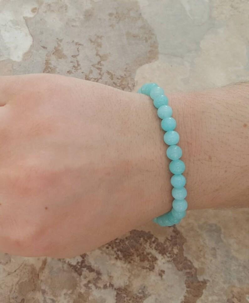 Natural AMAZONITE dainty stretchy healing bracelet 6mm stacking beaded bracelet Manifest your dreams intention stretchy bracelet