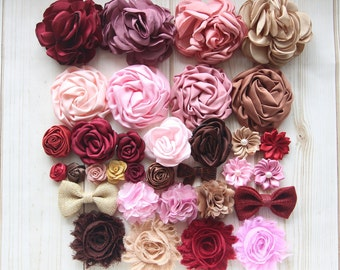 Fabric flowers etsy vintage fabric flowers collection burgundy mauve brown pink flowers grab bag mixed sizes and styles crown flowers fabric bows mightylinksfo