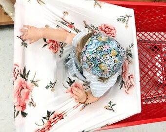 Stretchy Nursing Cover - Baby Car Seat Cover - High Chair Cover - Shopping Cart Cover - Floral Breastfeeding Cover - Baby Shower Gift -