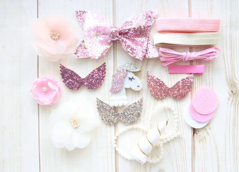 Baby Shower Activity Hair Bow Craft  Pink Grey Ivory DIY Headband Kit