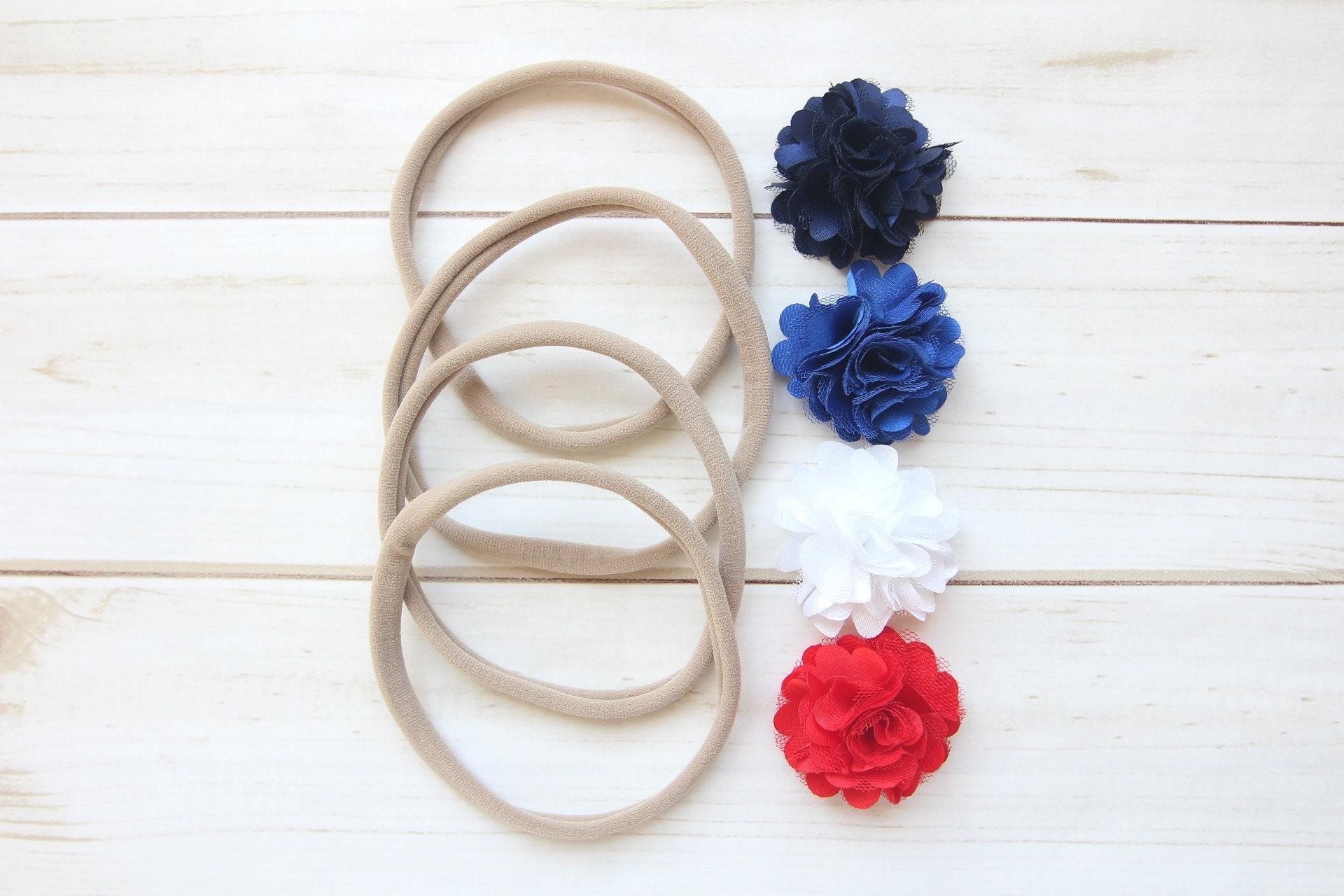 4th Of July Diy Headbands Chiffon Puff Tulle Flower Navy Etsy