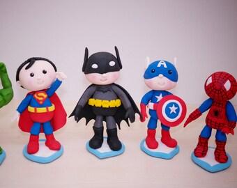 Spiderman Cake Topper Batman Superman Avenger Hulk Superhero Baby Fondant