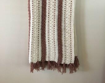 Vintage Mauve & Cream Colored Crocheted Afghan Blanket