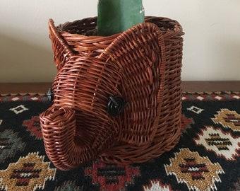 Vintage Wicker Elephant Planter / Planter Pot / Plant Holder