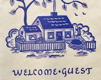 Vintage paper hand towels | retro bathroom decor | Welcome Guest