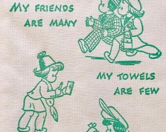 Vintage paper hand towels | retro bathroom decor | humor | cartoon