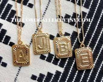 7f8637506aae Gold J Initial Necklace Vintage Style Gold Medallion Pendant Necklace 24k Gold  Plate Square Letter J Necklace Twisted 14k Gold Fill Figaro