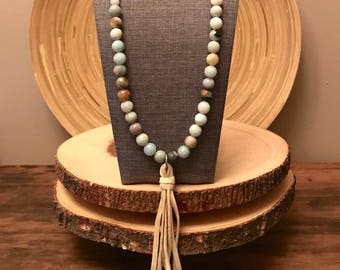 Amazonite beaded necklace, long beaded necklace, long tassel necklace, amazonite necklace, yoga necklace, leather tassel, leather necklace
