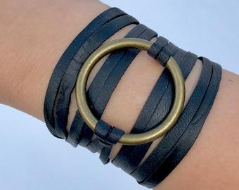 Circle Ring Leather Wrap Bracelet Rustic Black Leather Wrap Bracelet Boho Deerskin Leather Wrap Cuff Leather Bracelet Loop Leather Wrap cuff
