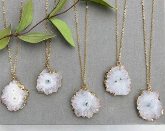 White Stalactite Necklace 14k Gold Plate Solar Druzy Necklace White Agate Freeform Stone Jewelry Mothers Day Gift Boho Bohemian Necklace