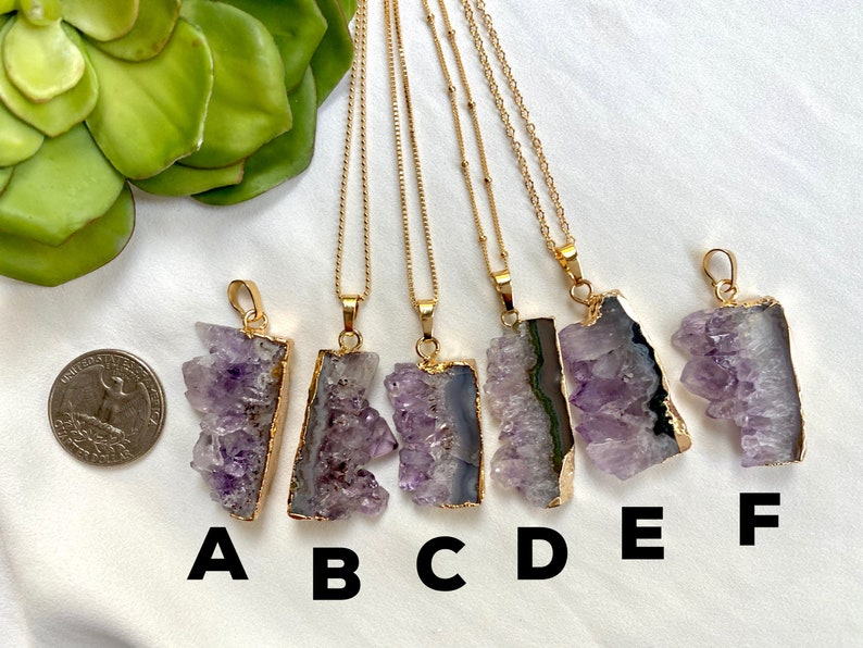 Raw Amethyst Necklace Amethyst Slice Pendant February Birthstone Necklace Gold Filled Chain Rectangle Amethyst Necklace Purple Crystal Gift
