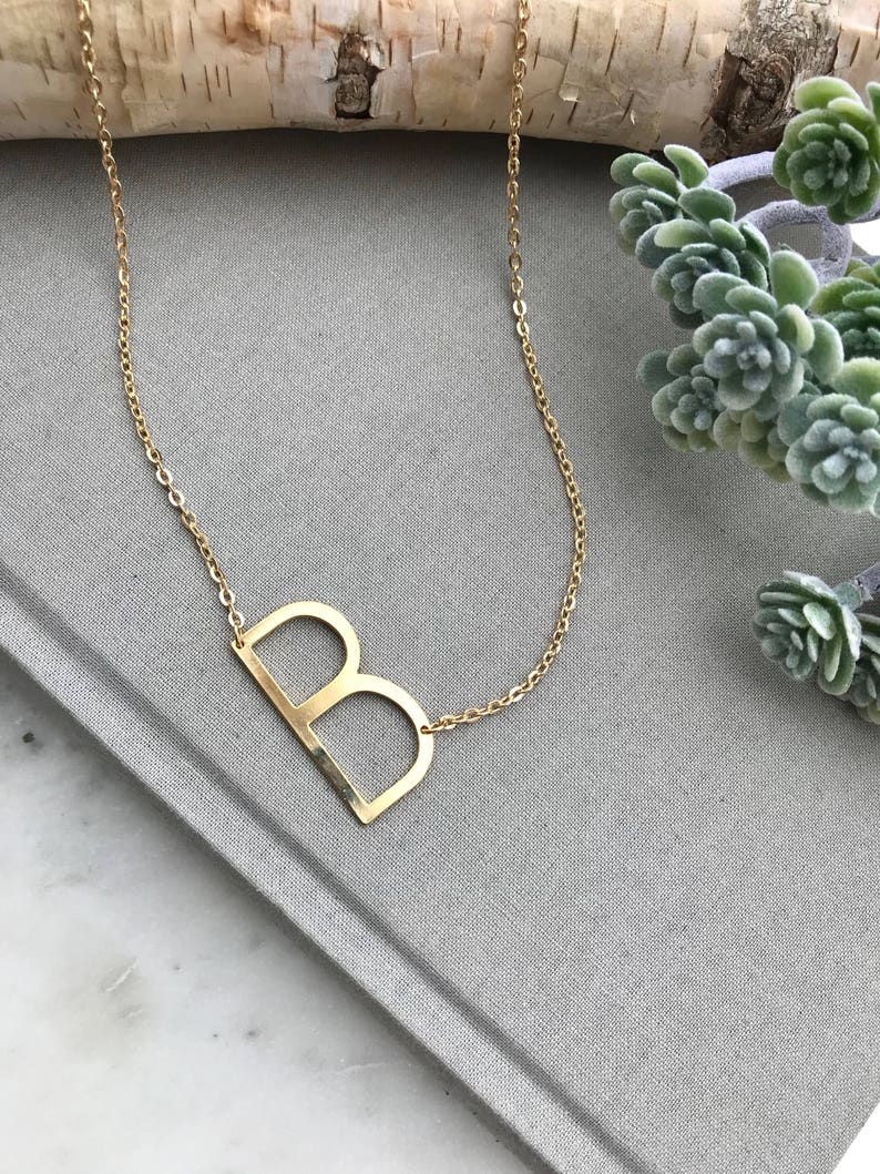 18d01355b7d485 Gold Initial Necklace Letter B Necklace Alphabet Necklace | Etsy