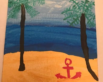 Beach with Anchor Acrylic painting