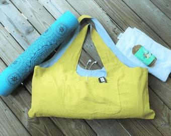 Yoga Mat Bag | Soft Linen | Natural, Eco Friendly, Light, Large Washable Yoga & Pilates bag with Zipper Pocket | Yoga Gift