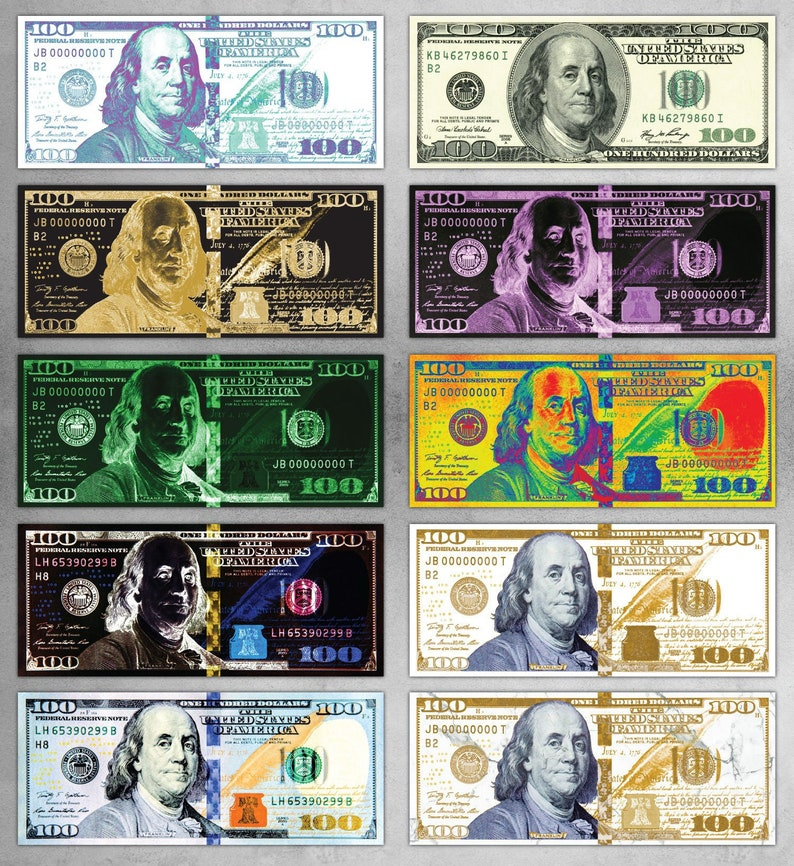 100 Dollar Bill Money Art | Choose from 10 Designs | Available in: Metal  and Poster Prints | Motivational Art | Large Wall Art