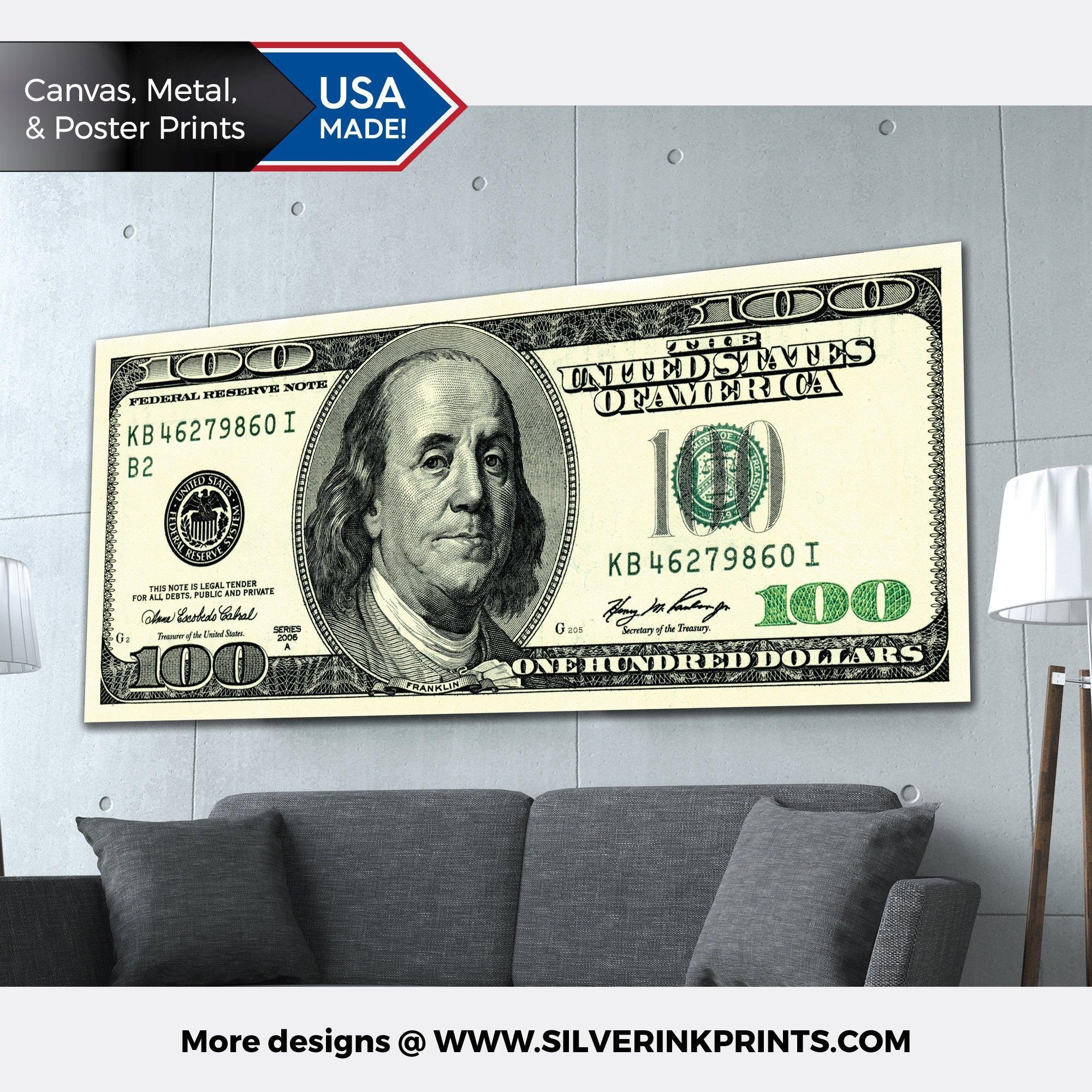 100 Dollar bills money Rolls Canvas Print Wall Art Home 5 Piece
